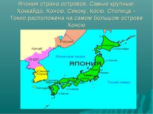 Япония страна островов. Самые крупные: Хоккайдо, Хонсю, Сикоку, Косю. Столица