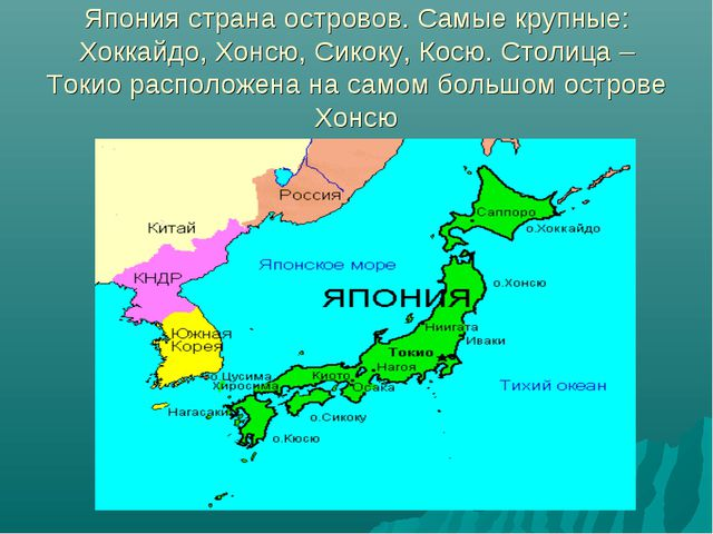 Япония страна островов. Самые крупные: Хоккайдо, Хонсю, Сикоку, Косю. Столица...