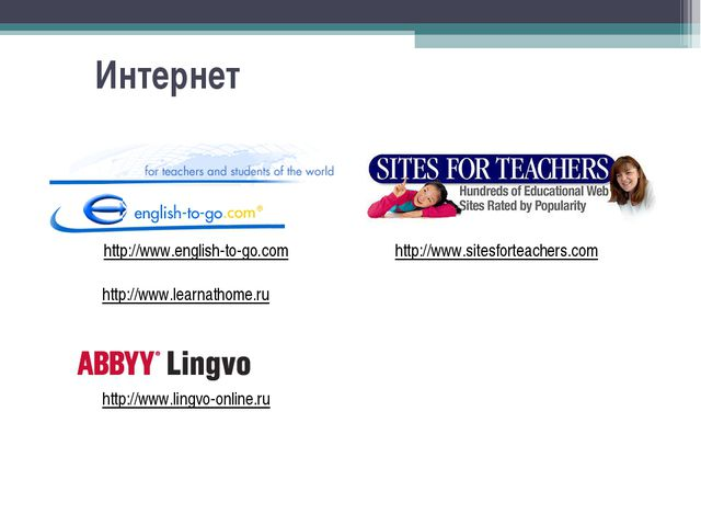 Интернет http://www.sitesforteachers.com http://www.english-to-go.com http://...