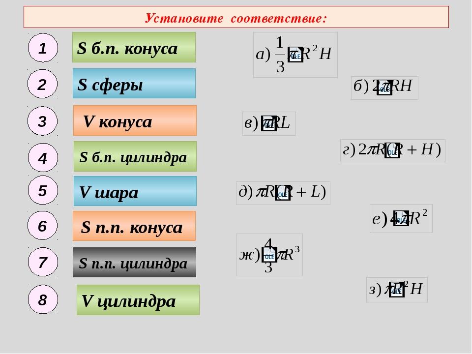 Установите соответствие: S п.п. конуса S б.п. конуса V конуса S п.п. цилиндра...