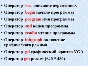 Оператор var описание переменных Оператор begin начало программы Оператор pro