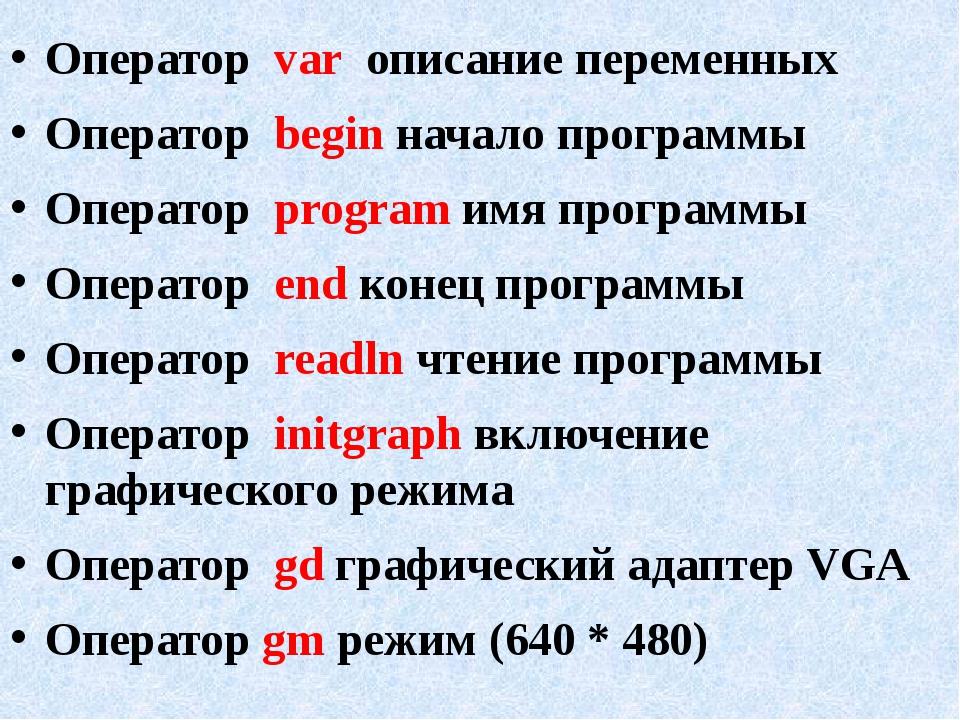 Оператор var описание переменных Оператор begin начало программы Оператор pro...
