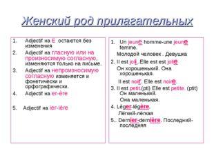 Женский род прилагательных Adjectif на E остаются без изменения Adjectif на г