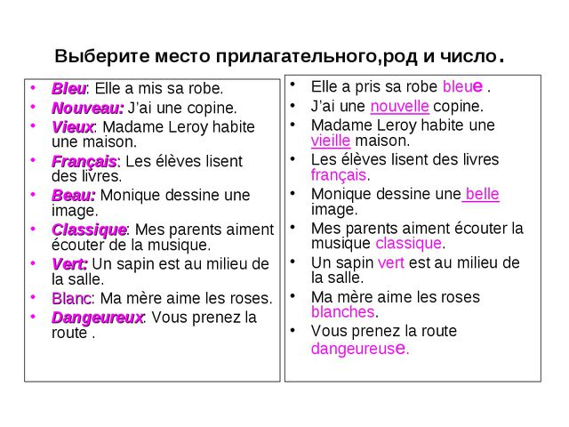 Выберите место прилагательного,род и число. Bleu: Elle a mis sa robe. Nouveau...