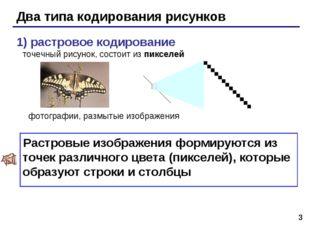 * Два типа кодирования рисунков 1) растровое кодирование точечный рисунок, со