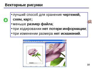 * Векторные рисунки лучший способ для хранения чертежей, схем, карт; меньше р
