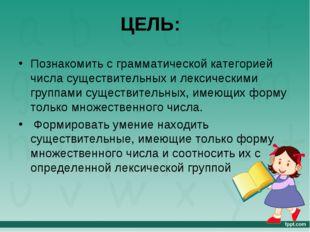 ЦЕЛЬ: Познакомить с грамматической категорией числа существительных и лексиче