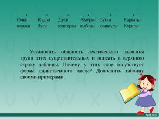 Установить общность лексического значения групп этих существительных и вписат