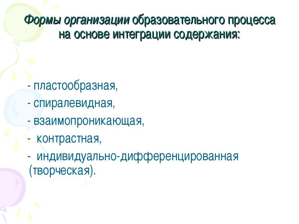 Формы организации образовательного процесса на основе интеграции содержания:...