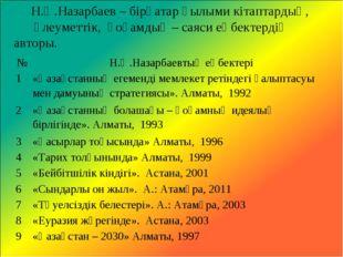 Н.Ә.Назарбаев – бірқатар ғылыми кітаптардың, әлеуметтік, қоғамдық – саяси еңб