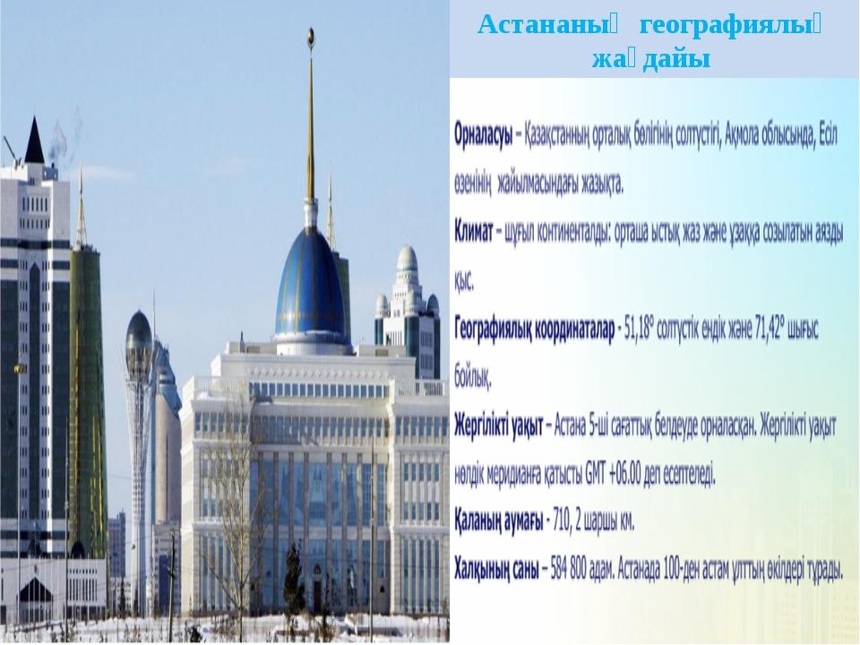 Астананың географиялық жағдайы