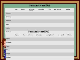 Semantic card №1 Semantic card №2 жаз Желді бұлтсыз аспан Ауа райы күз жаңбыр