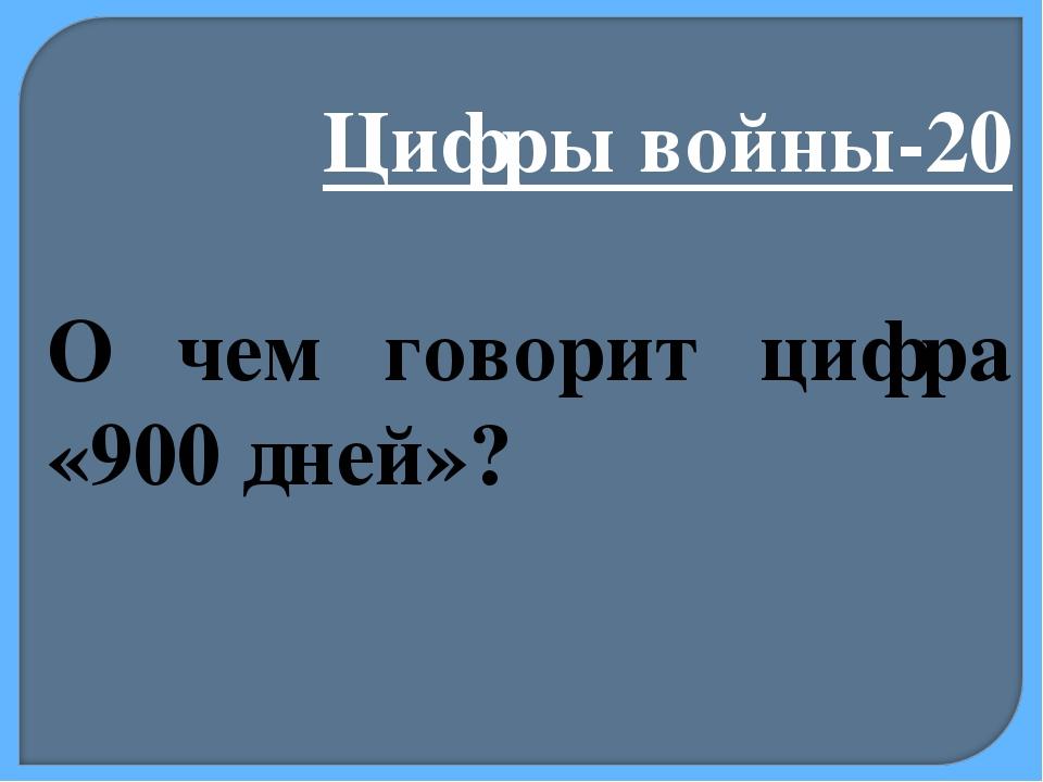 Цифры войны-20 О чем говорит цифра «900 дней»?