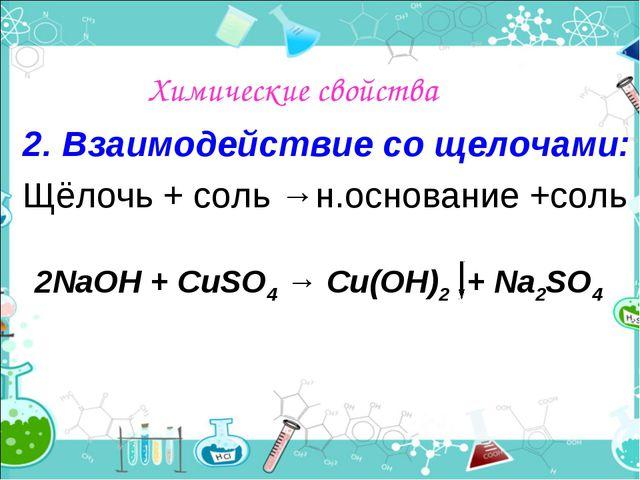Химические свойства 2. Взаимодействие со щелочами: Щёлочь + соль →н.основание...