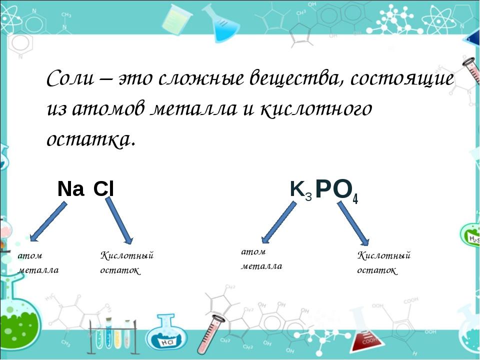 Соли – это сложные вещества, состоящие из атомов металла и кислотного остатка...