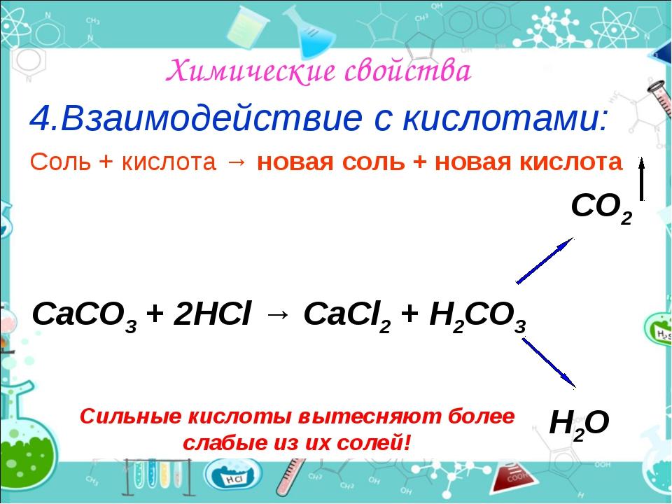 Химические свойства 4.Взаимодействие с кислотами: Соль + кислота → новая соль...