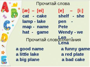 [æ] – [ei] cat - cake lamp - lake map - name hat - game Прочитай слова [e] –