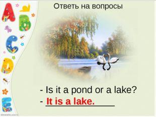 - Is it a pond or a lake? - _____________ It is a lake. Ответь на вопросы