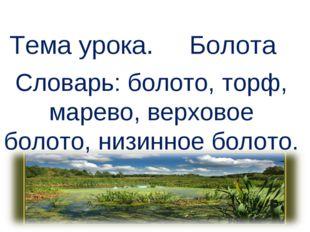 Тема урока. Болота Словарь: болото, торф, марево, верховое болото, низинное