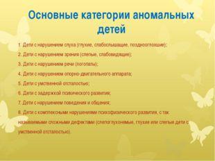 Основные категории аномальных детей 1. Дети с нарушением слуха (глухие, слабо
