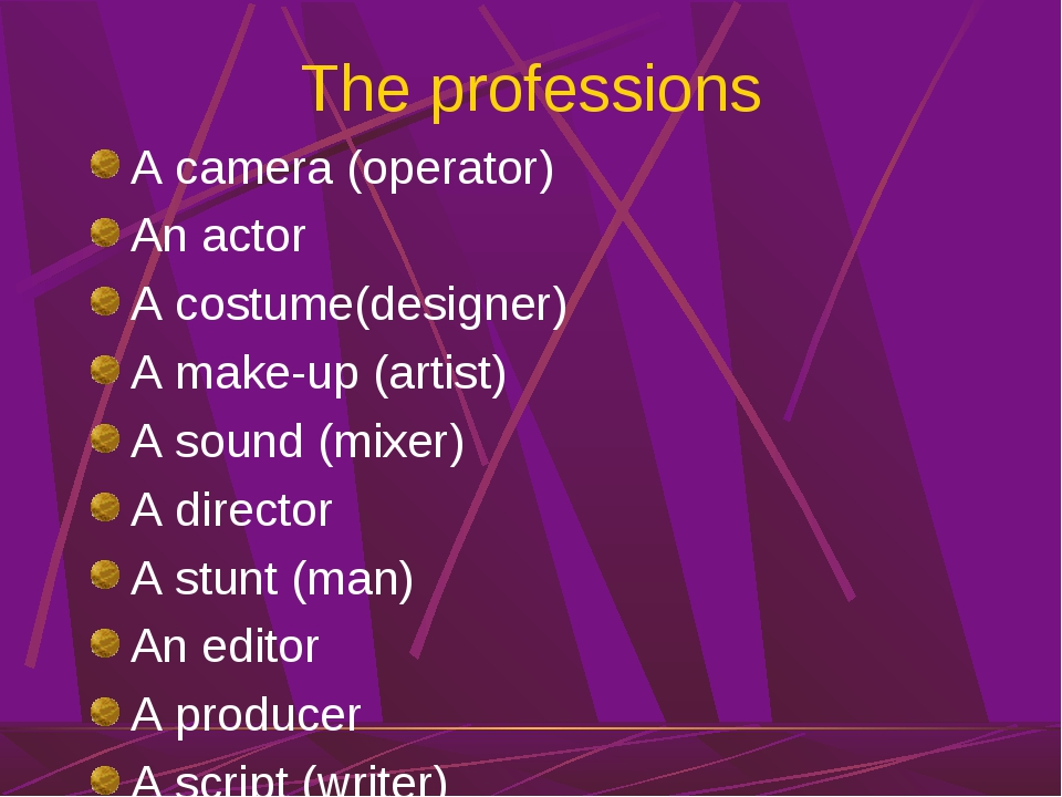 The professions A camera (operator) An actor A costume(designer) A make-up (a...