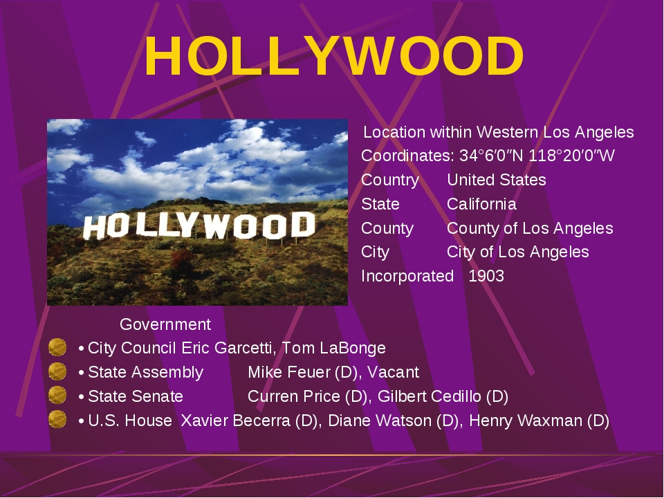 HOLLYWOOD Location within Western Los Angeles Coordinates: 34°6′0″N 118°20′0″...