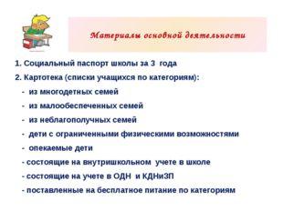 1. Социальный паспорт школы за 3года 2. Картотека (списки учащихся по катег