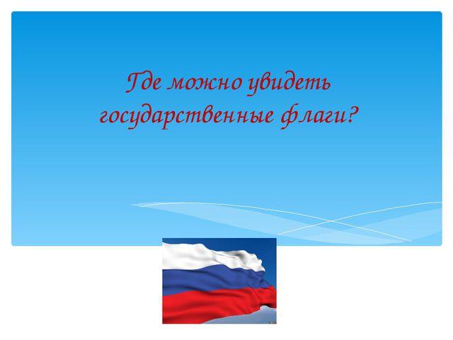 Где можно увидеть государственные флаги?