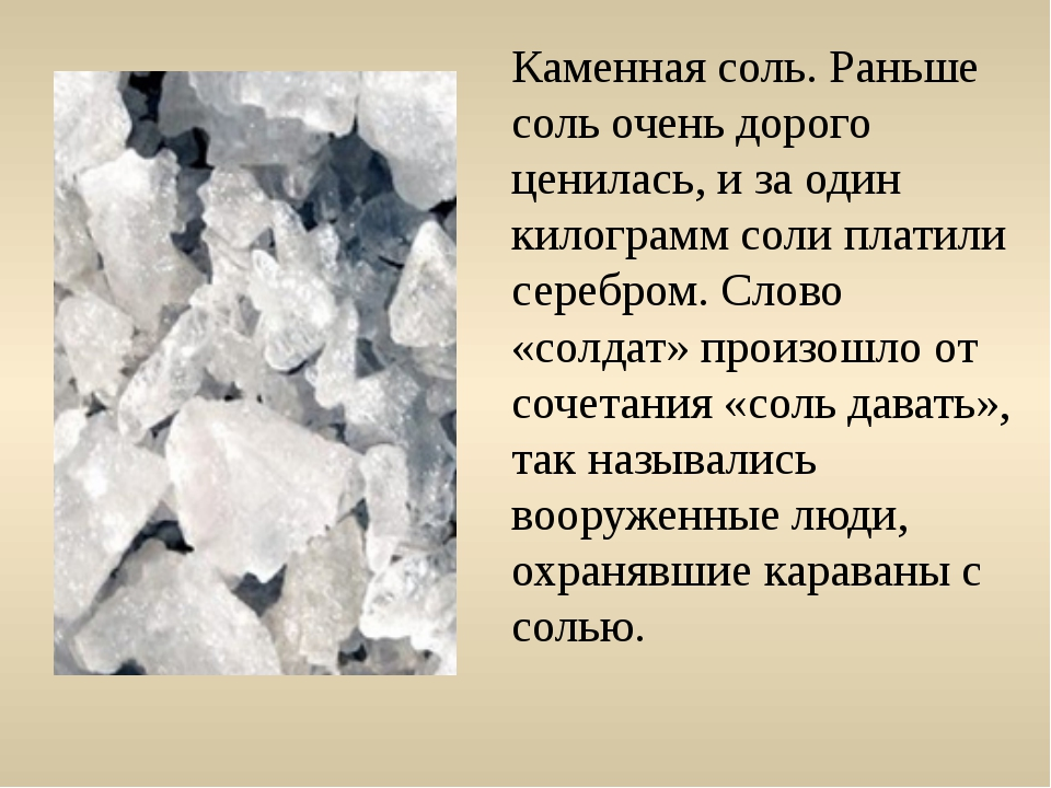 Каменная соль. Раньше соль очень дорого ценилась, и за один килограмм соли пл...