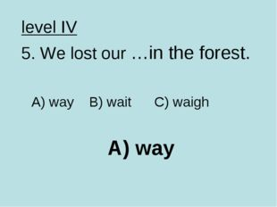 A) way level IV 5. We lost our …in the forest. A) way B) wait C) waigh
