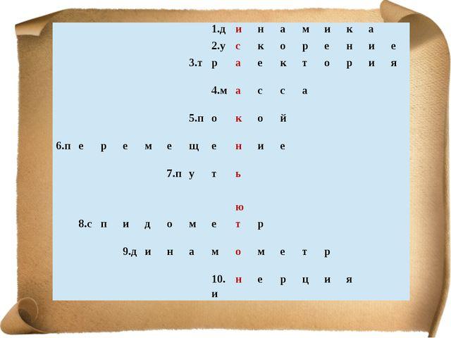 1.д и н а м и к а 2.у с к о р е н и е 3.т р а е к т о р и я 4.м а с с а 5.п...