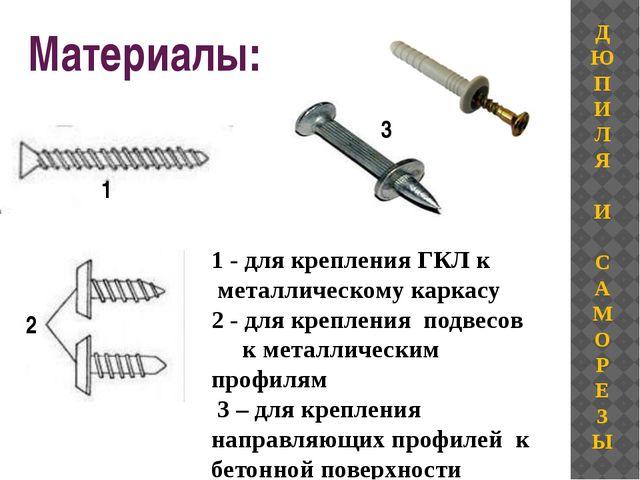 Материалы: 1 - для крепления ГКЛ к металлическому каркасу 2 - для крепления п...