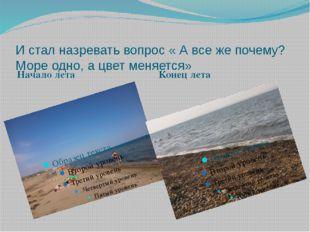 И стал назревать вопрос « А все же почему? Море одно, а цвет меняется» Начало