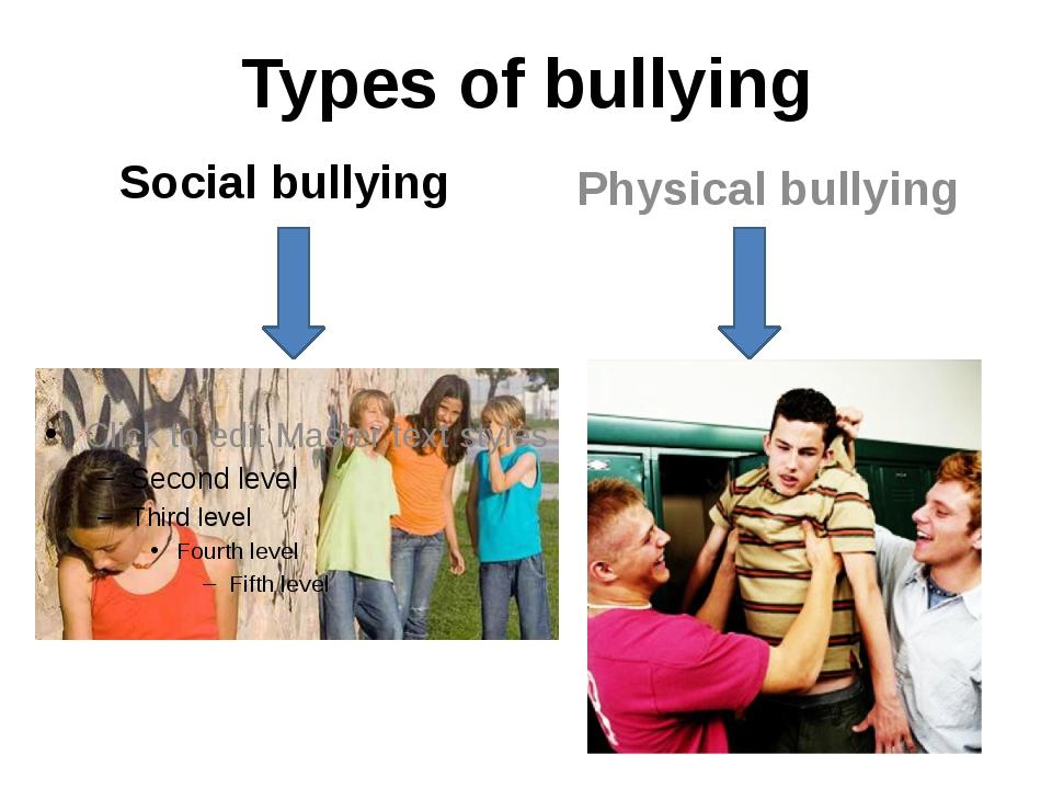 Types of bullying Social bullying Physical bullying
