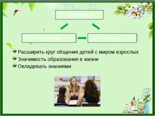 Расширить круг общения детей с миром взрослых Значимость образования в жизни