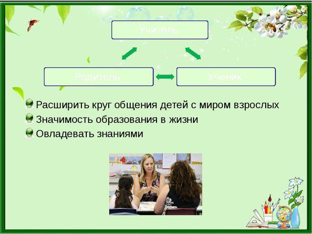 Расширить круг общения детей с миром взрослых Значимость образования в жизни...