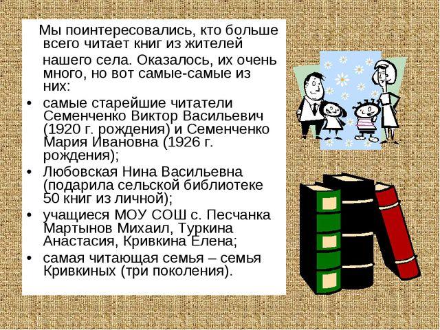 Мы поинтересовались, кто больше всего читает книг из жителей нашего села. Ок...