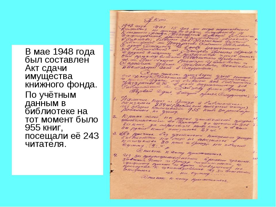 В мае 1948 года был составлен Акт сдачи имущества книжного фонда. По учётным...