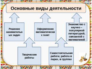 Основные виды деятельности Творческие работы Решение занимательных задач Сам