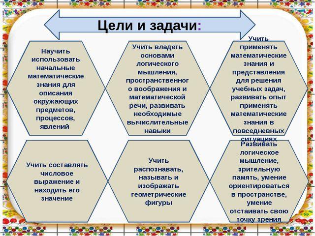 Цели и задачи: Учить составлять числовое выражение и находить его значение У...