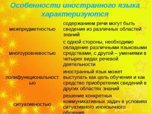 Особенности иностранного языка характеризуются межпредметностью содержанием р