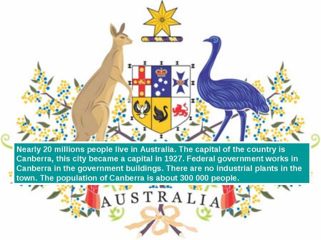 Nearly 20 millions people live in Australia. The capital of the country is Ca...