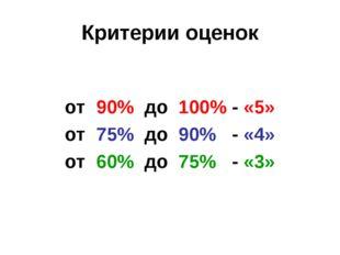 Критерии оценок  от 90% до 100% - «5»  от 75% до 90% - «4»  от 60% до 7