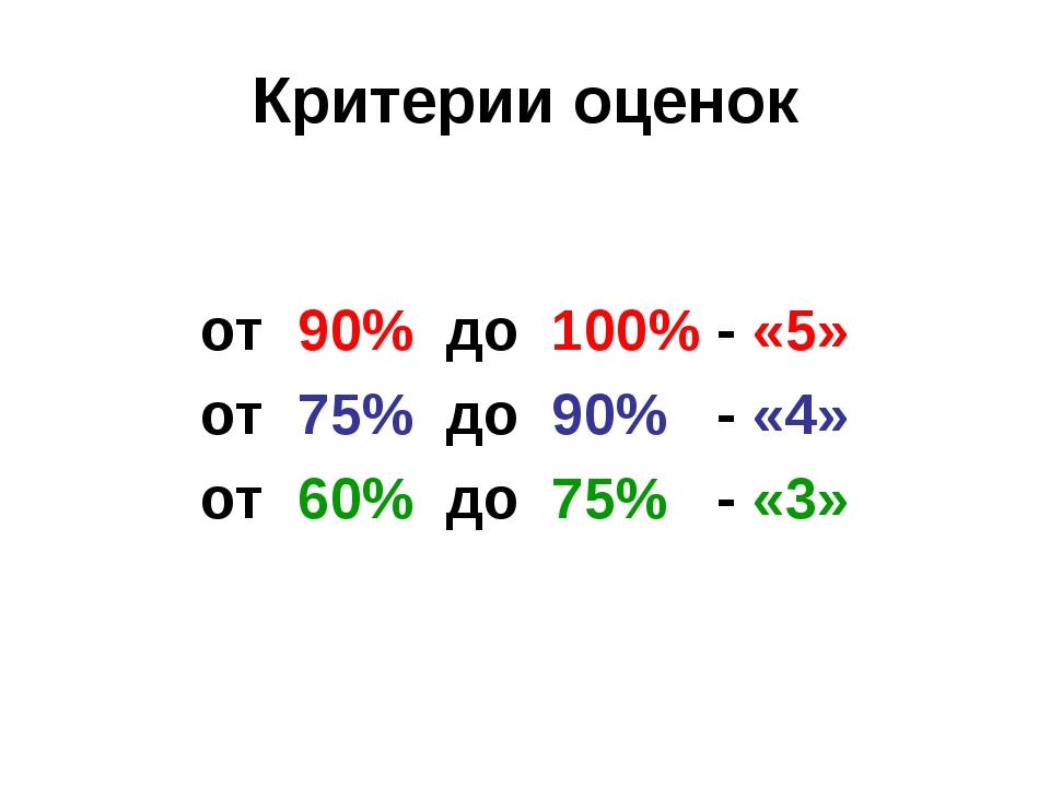 Критерии оценок  от 90% до 100% - «5»  от 75% до 90% - «4»  от 60% до 7...