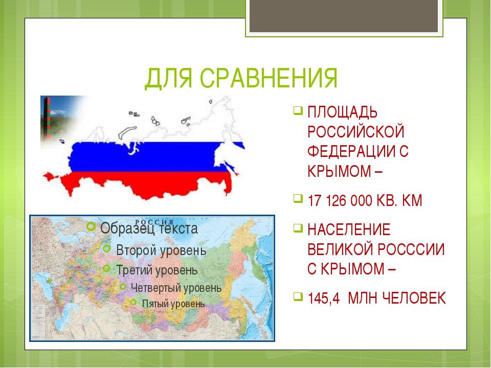 ДЛЯ СРАВНЕНИЯ ПЛОЩАДЬ РОССИЙСКОЙ ФЕДЕРАЦИИ С КРЫМОМ – 17 126 000 КВ. КМ НАСЕЛ...
