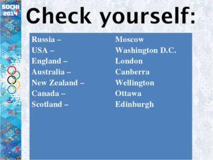 Russia – USA – England – Australia – New Zealand – Canada – Scotland – Mosco