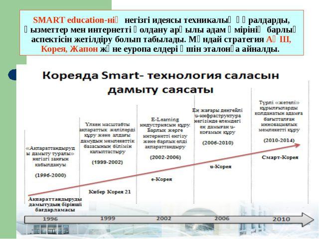 SMART education-нің негізгі идеясы техникалық құралдарды, қызметтер мен интер...