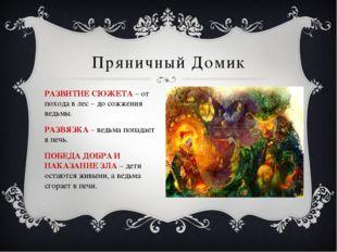 Пряничный Домик РАЗВИТИЕ СЮЖЕТА – от похода в лес – до сожжения ведьмы. РАЗВЯ