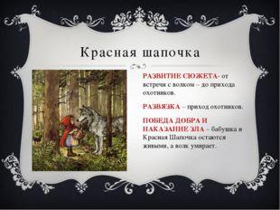 Красная шапочка РАЗВИТИЕ СЮЖЕТА- от встречи с волком – до прихода охотников.