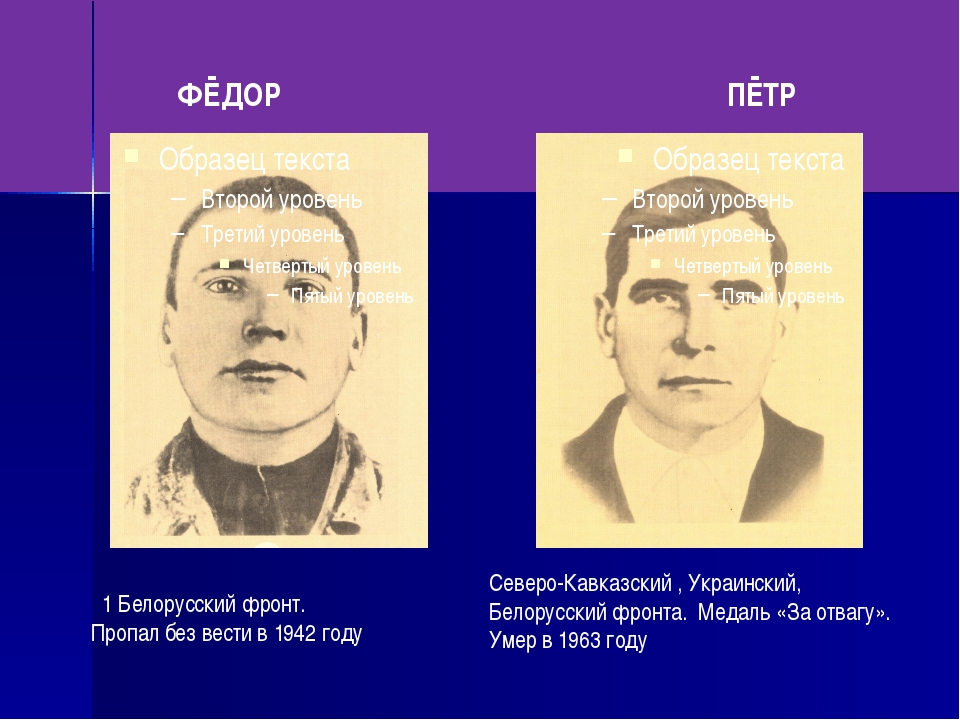 ФЁДОР ПЁТР 1 Белорусский фронт. Пропал без вести в 1942 году Северо-Кавказск...